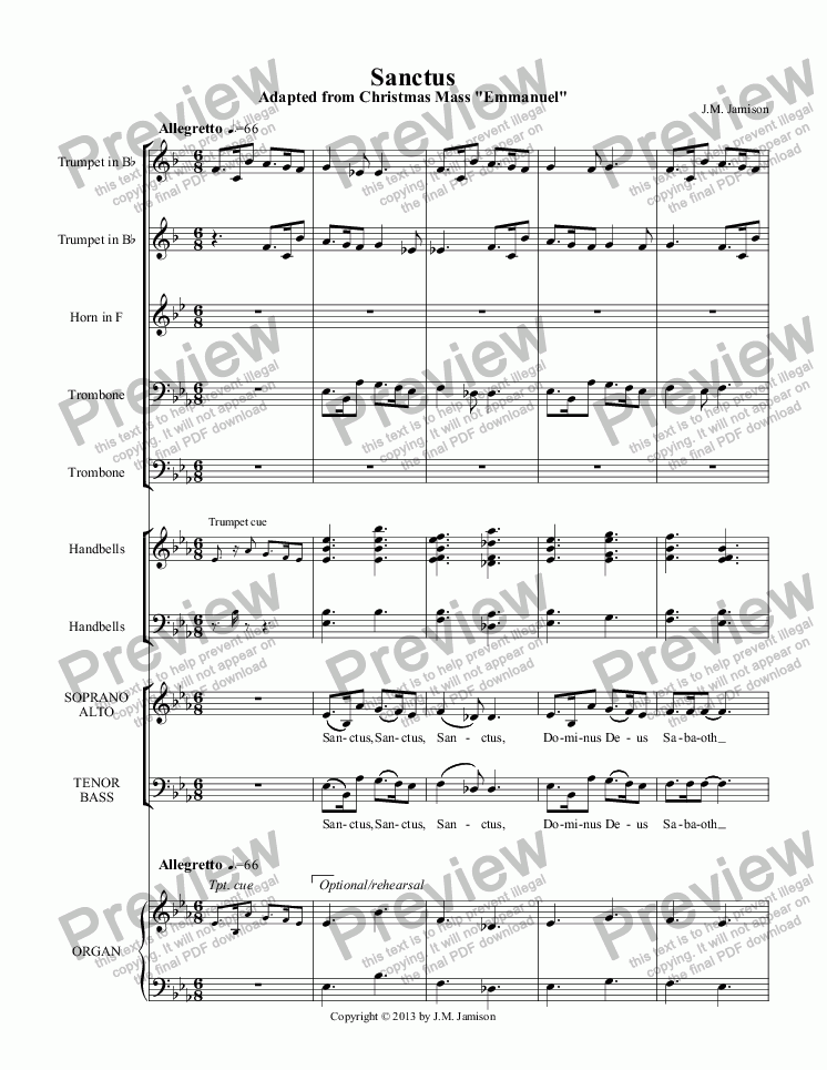 page one of Sanctus (Christmas Mass) (full score)