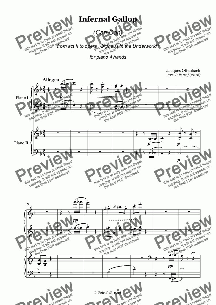 page one of Offenbach - INFERNAL GALLOP (Can-Can) - piano 4 hands