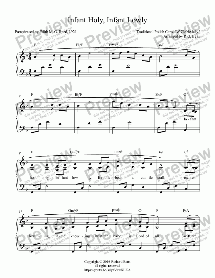 page one of Infant Holy, Infant Lowly - Christmas Carol / Hymn Piano Solo