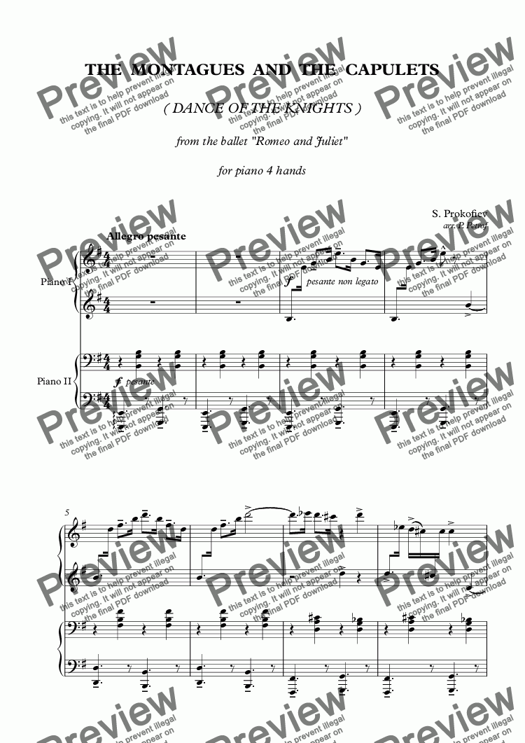 page one of Prokofiev - THE MONTAGUES AND THE CAPULETS - piano 4 handsASALTTEXT
