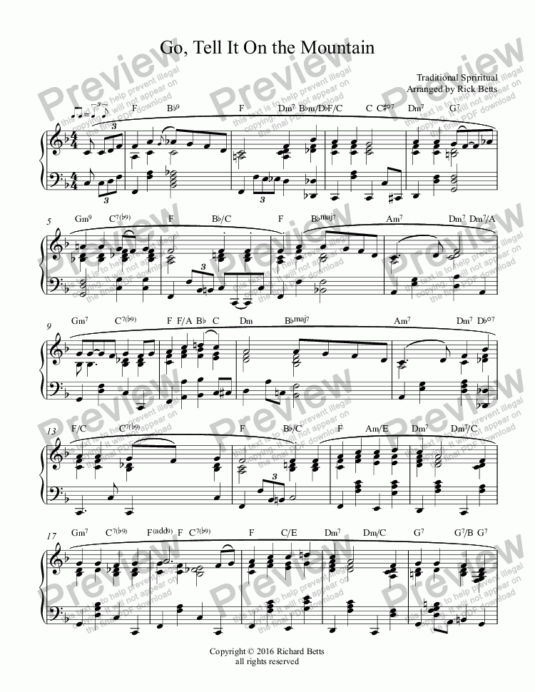 page one of Go, Tell It On the Mountain - Christmas Carol / Hymn Piano Solo