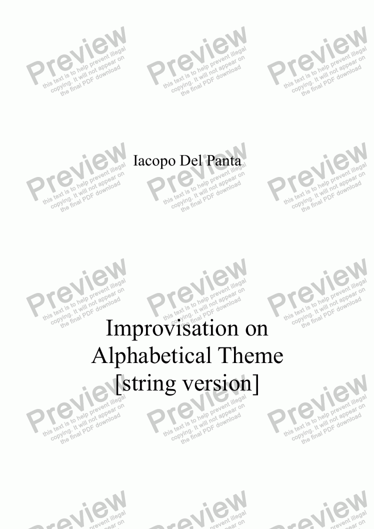 page one of Improvisation on Alphabetical Theme (String)ASALTTEXT