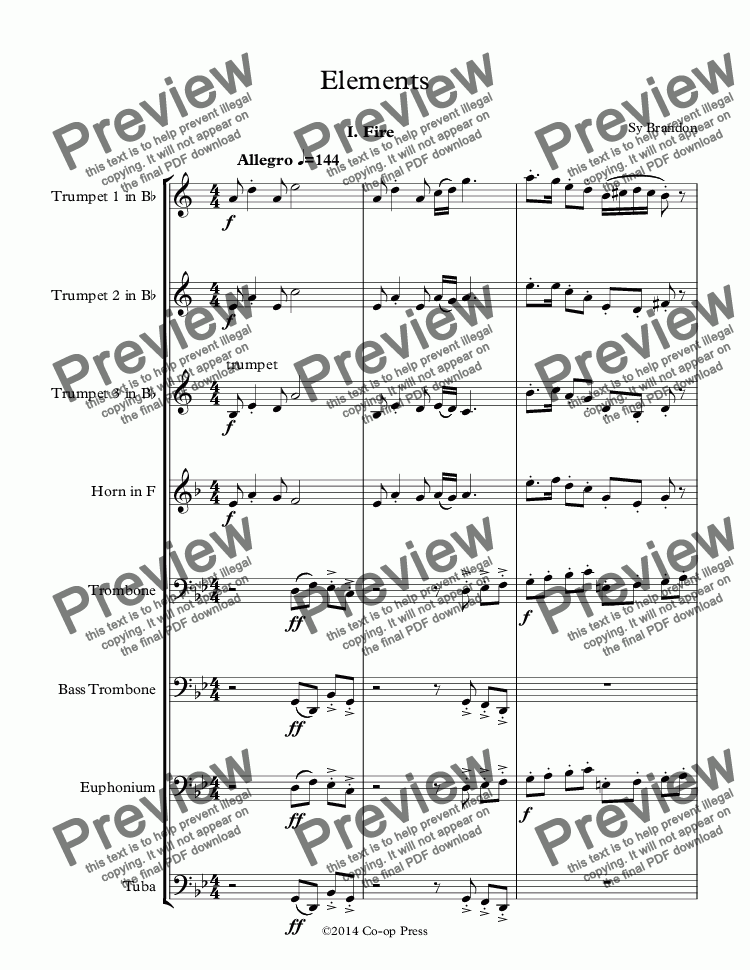 page one of Elements for Brass Octet
