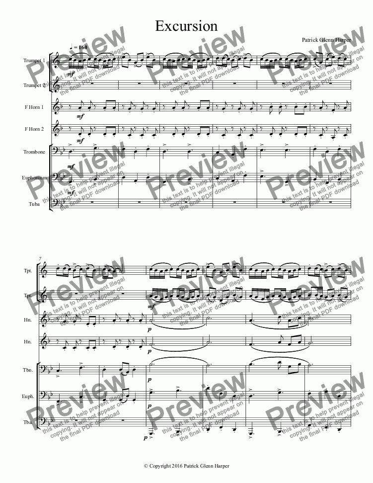 page one of Excursion - for Brass Ensemble