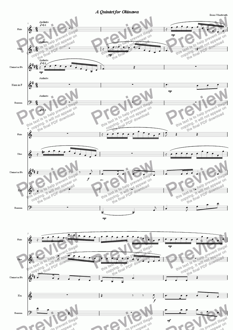 page one of A Quintet For Okinawa (for woodwind quintet)
