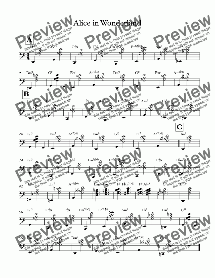 page one of bill evans lesson- left Hand Voicings-Alice in Wonderland