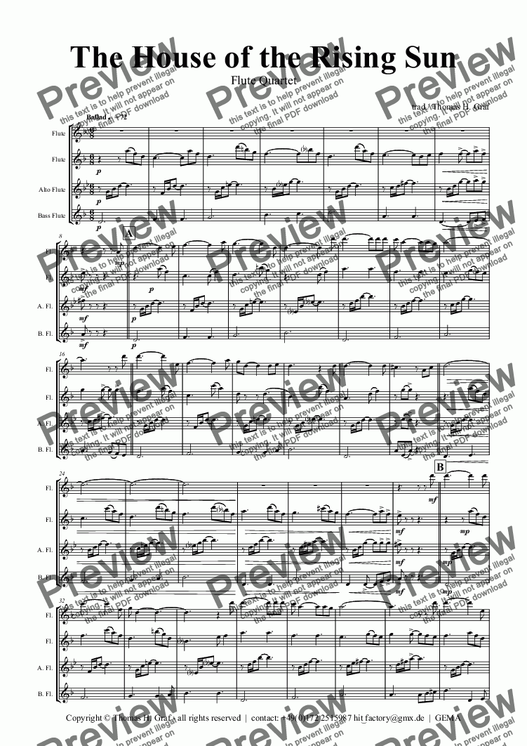 page one of The house of the rising sun - Folk Song - Flute Quartet