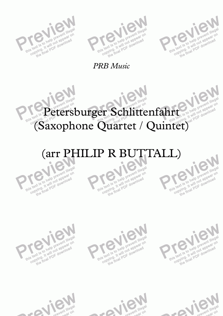 page one of Petersburger Schlittenfahrt (Saxophone Quartet / Quintet)