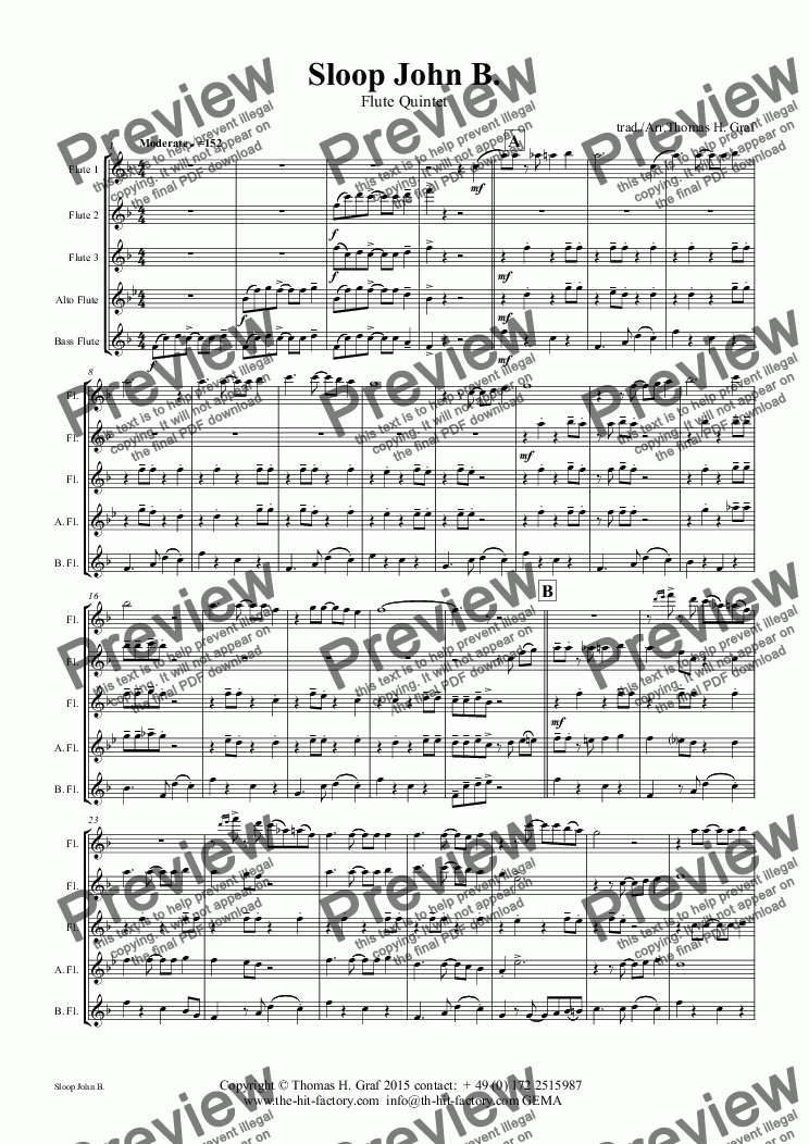 page one of Sloop John B. - Caribian Folk Song - Flute Quintet