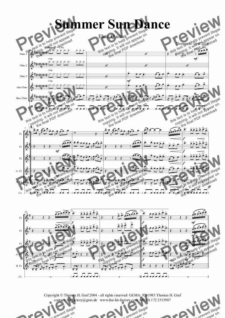 page one of Summer Sun Dance - 11/8 - Folk Dance Style - Flute Quintet