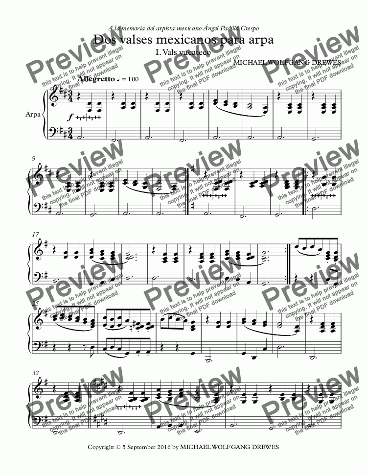 Dos valses mexicanos para arpa for Solo instrument (Harp) by Michael Drewes  - Sheet Music PDF file to download