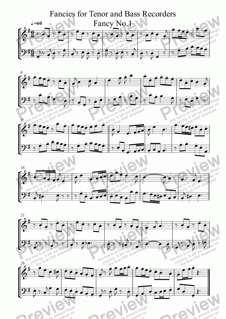 Fancies for Tenor and Bass Recorders for Duet of Tenor Recorders by  Nicholas Wynne - Sheet Music PDF file to download