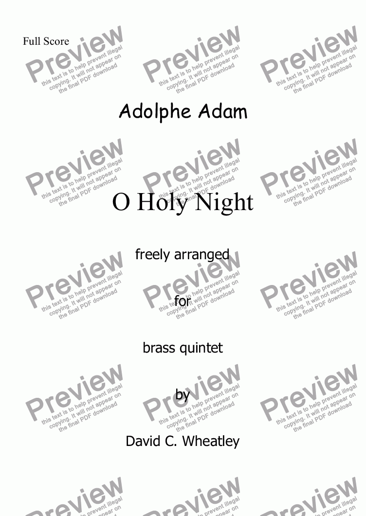 page one of O Holy Night! (Adolphe Adam) for brass quintet