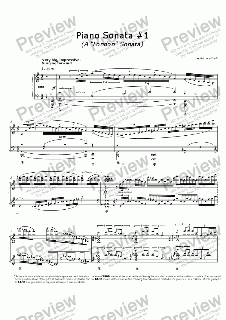 "page one of Piano Sonata #1 ('A ""London"" Sonata' )"