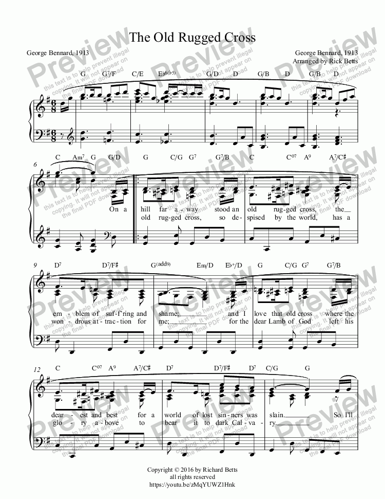 Page One Of The Old Rugged Cross Lent Easter Communion Hymn Piano Solo