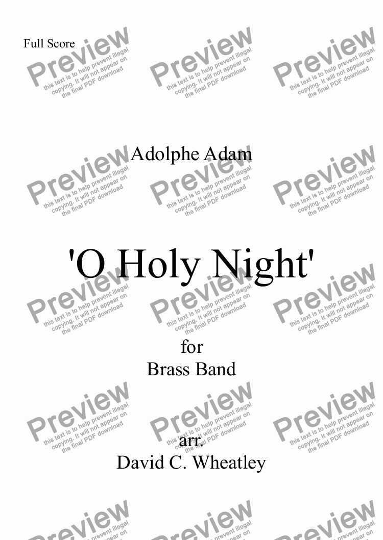 page one of O Holy Night! (Adolphe Adam) for brass band