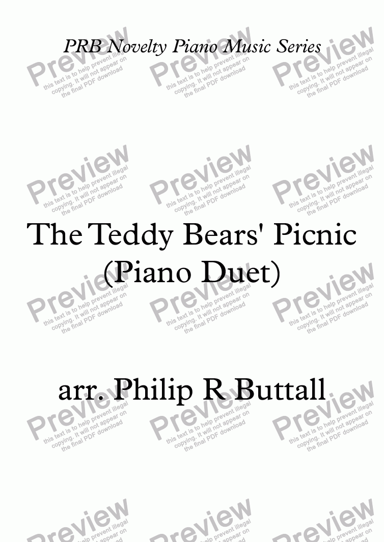 page one of PRB Novelty Piano Series: The Teddy Bears' Picnic (Four Hands)