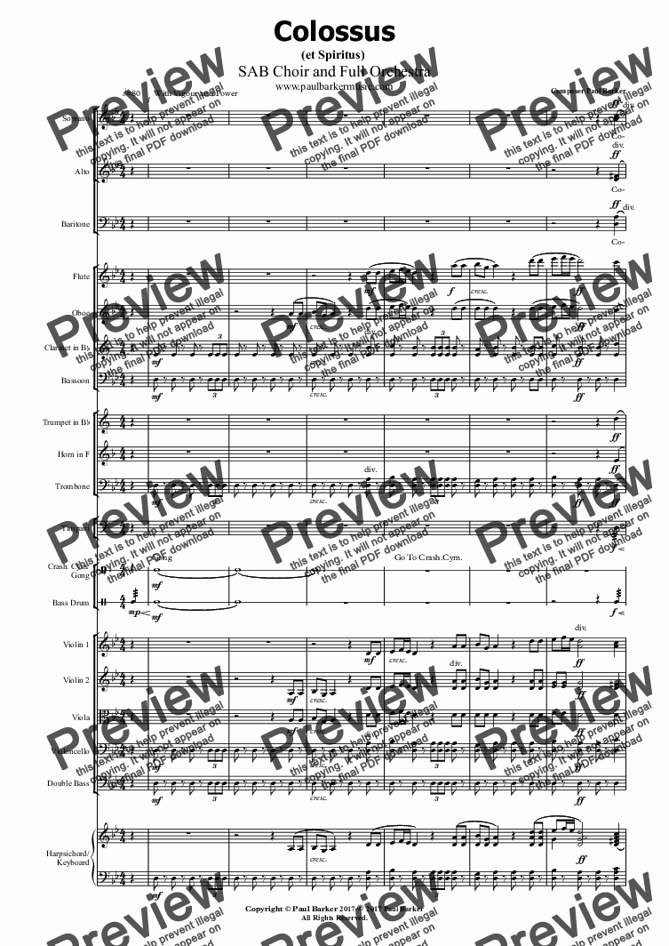 page one of Colossus (et Spiritus)  SAB Choir and Full Orchestra