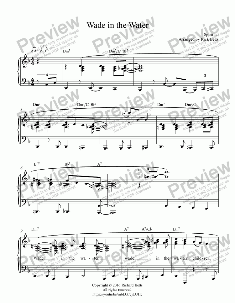 page one of Wade in the Water - Gospel Hymn Spiritual Piano Solo