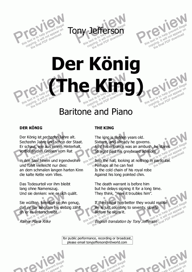 page one of Der König  (The King)