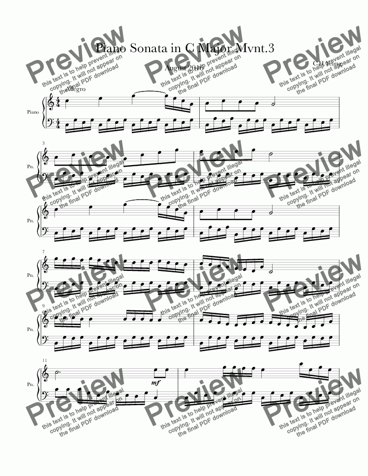 page one of Piano Sonata in C major Mvnt.III