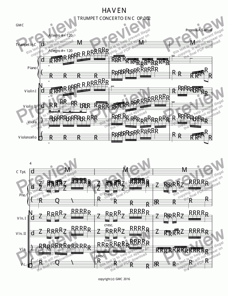 page one of Haven Trumpet concertoASALTTEXT