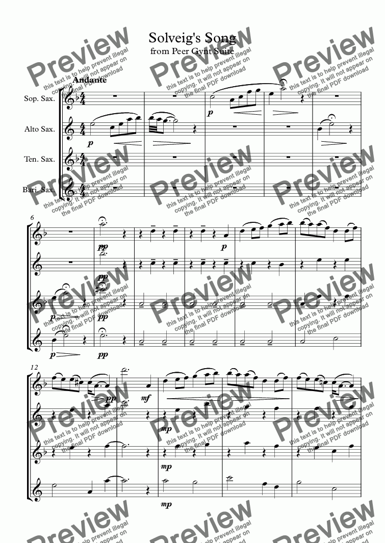 page one of Solveig's Song - Peer Gynt