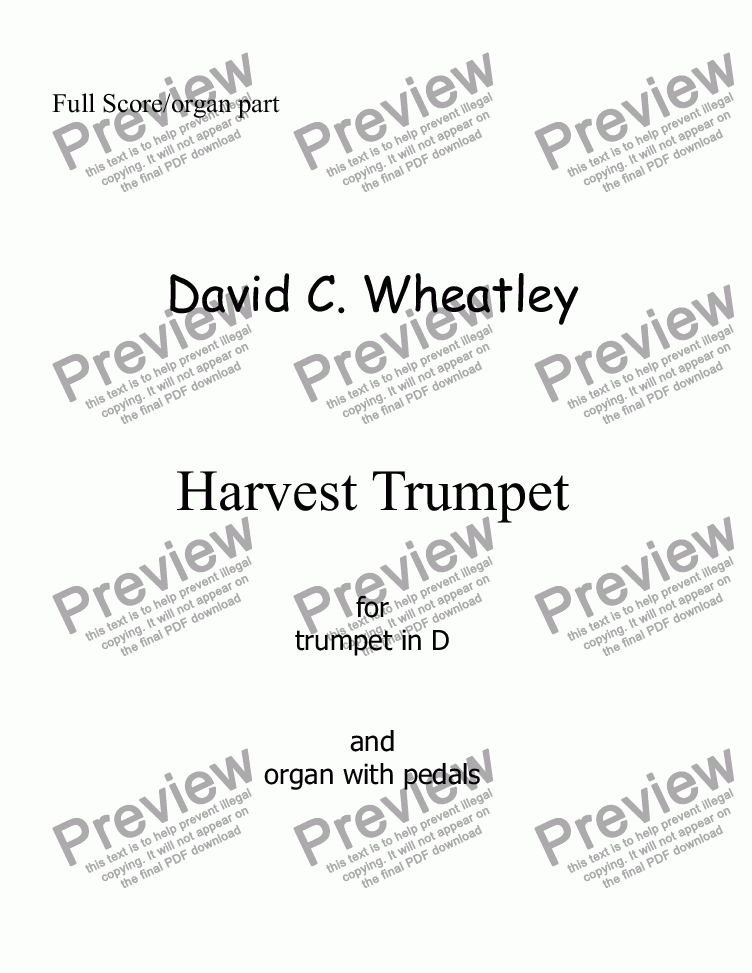 page one of Harvest Trumpet for D trumpet and organ by David Wheatley