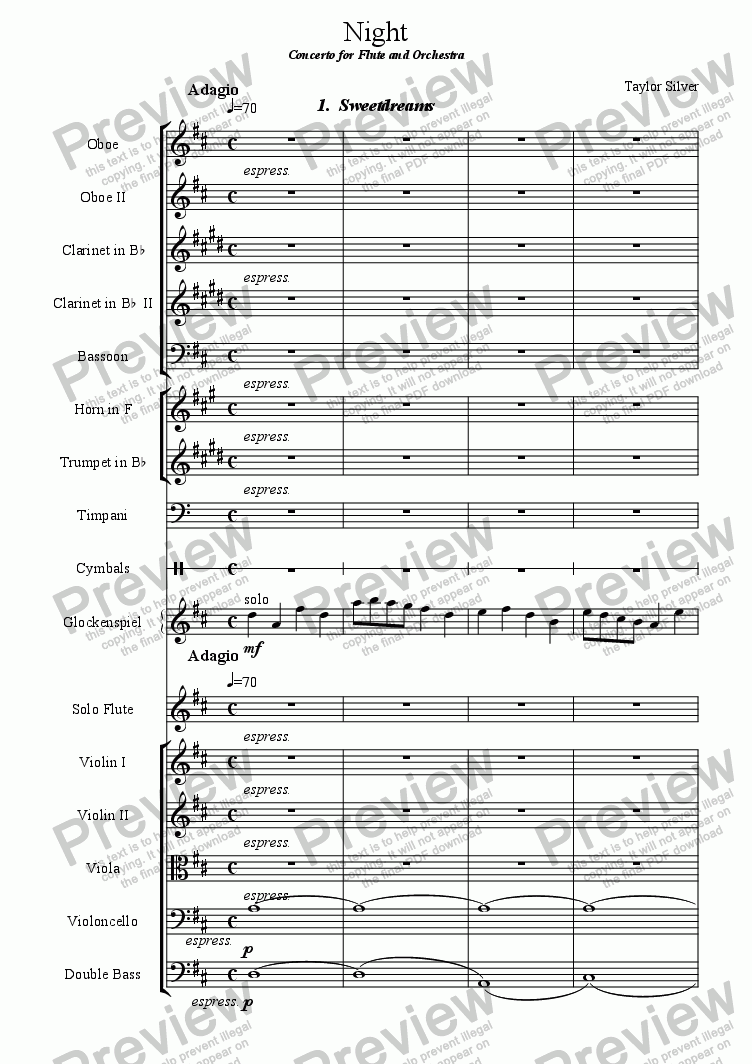page one of Night: Concerto for Flute and Orchestra