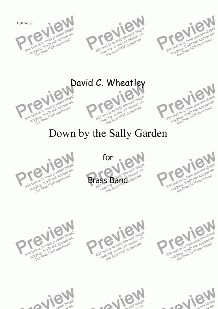 page one of Down by the Sally Garden for brass band
