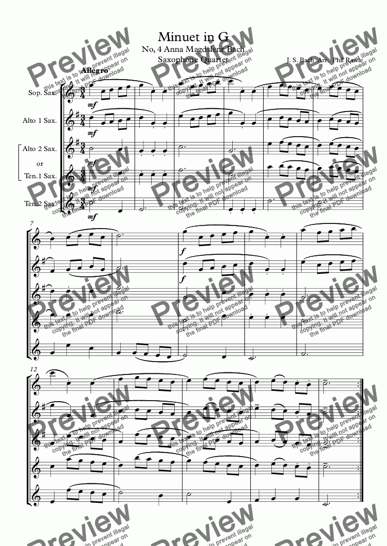 page one of Minuet in G (4) - J. S. Bach