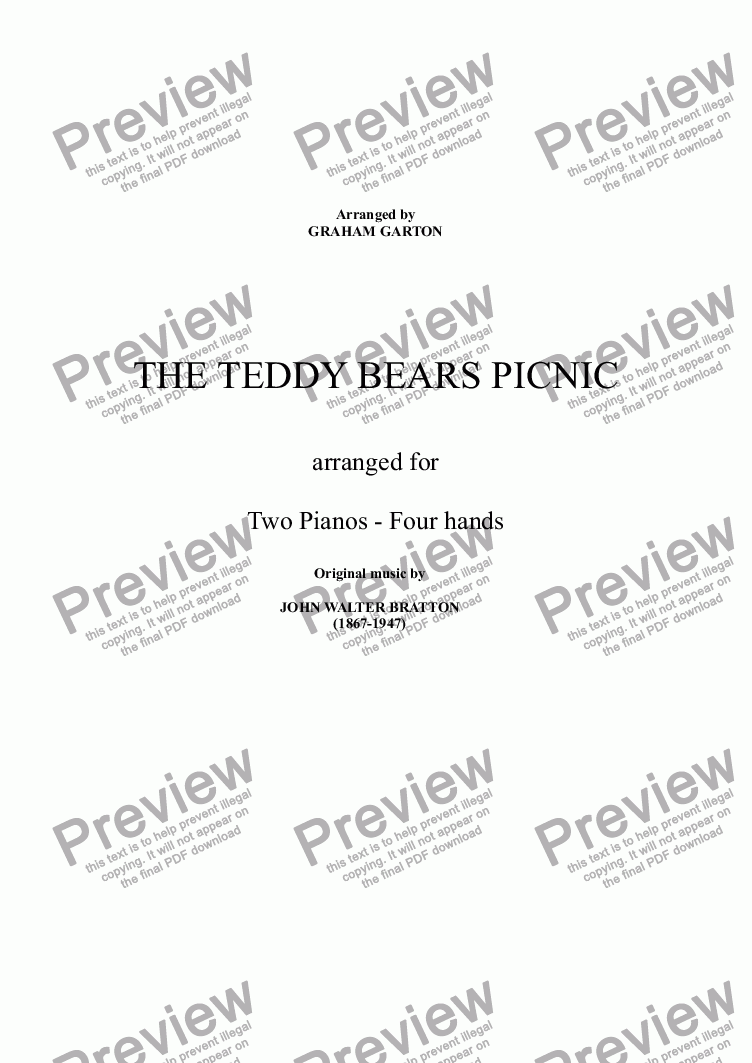 page one of PIANO DUET 4-hands - 'THE TEDDY BEAR'S PICNIC' arrangement of the original music by John Walter Bratton (1868-1947). No lyric.