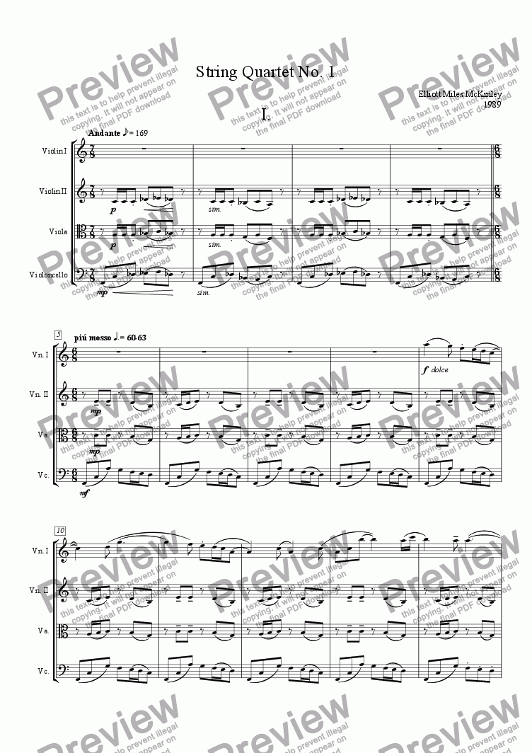 page one of String Quartet No. 1