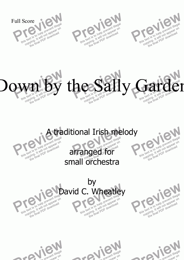 page one of Down by the Sally Garden for small orchestra