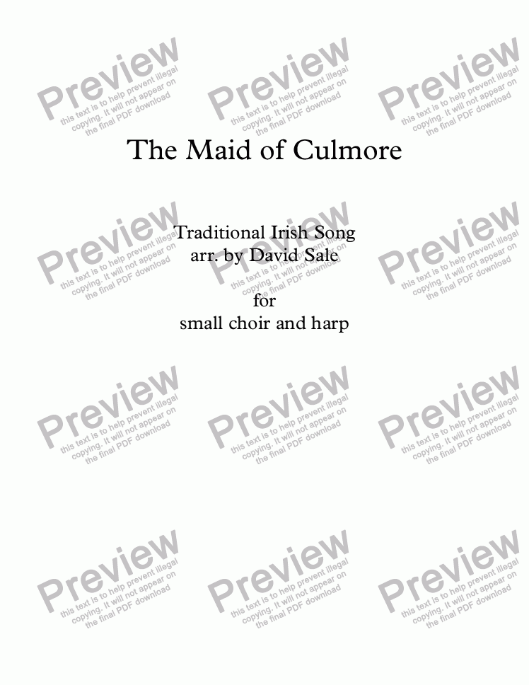 page one of The Maid of Culmore (choir and harp)