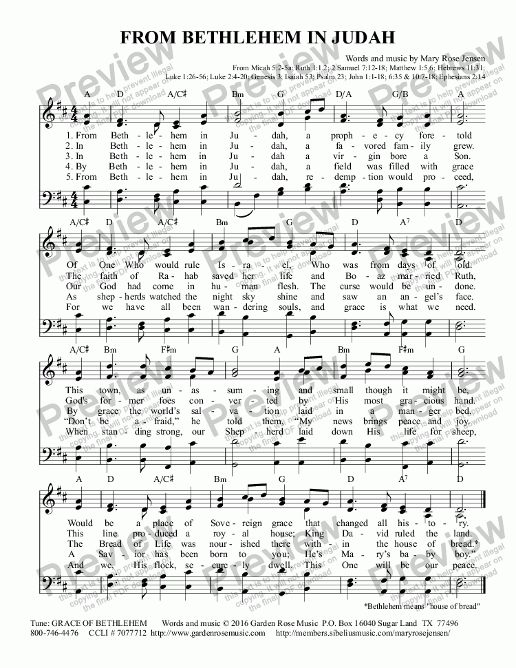 page one of From Bethlehem in Judah (Christmas hymn)