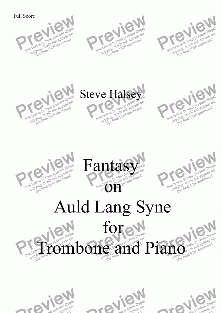 page one of Fantasy on   Auld Lang Syne  for Trombone and PianoASALTTEXT