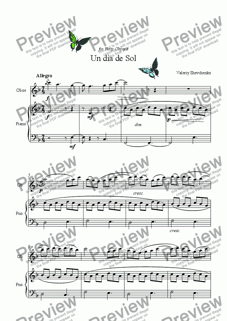 page one of Un d�a de Sol (for Oboe & piano)