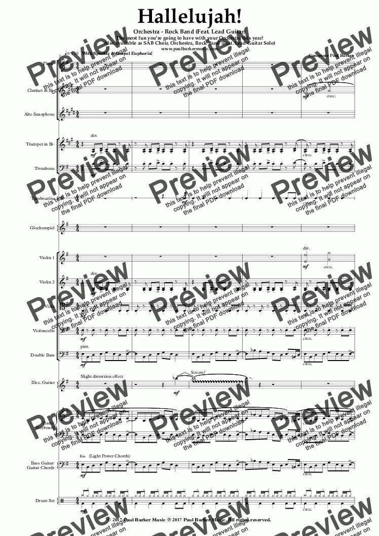 Hallelujah Orchestra Rock Band Feat Lead Guitar Sheet Music