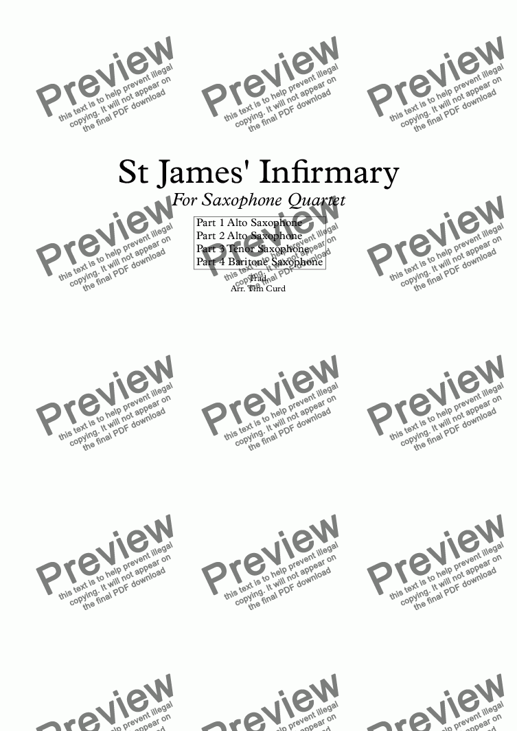 page one of St James' Infirmary. For Saxophone Quartet