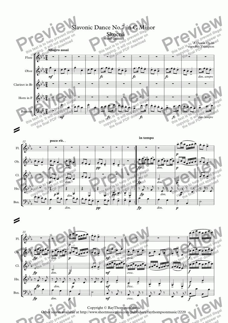 dvorak: slavonic dances op.46 no.7 in c minor (skocná) - wind quintet  score exchange