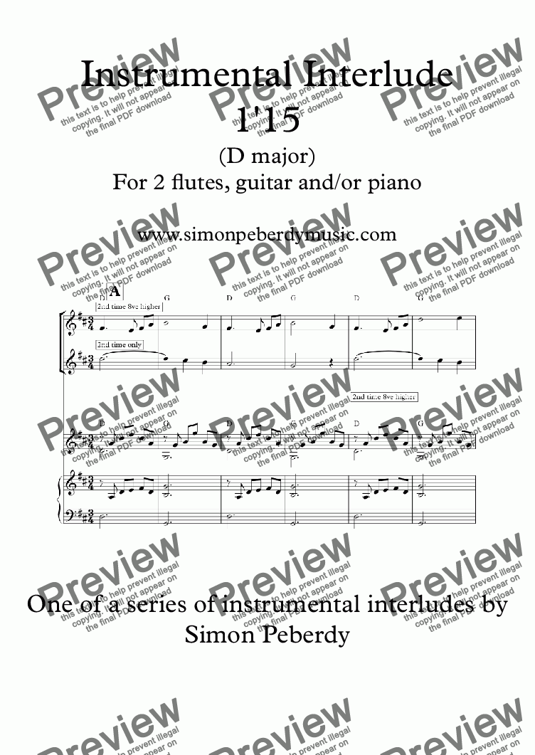page one of Instrumental Interlude 1'15 for 2 flutes, guitar and/or pianoASALTTEXT