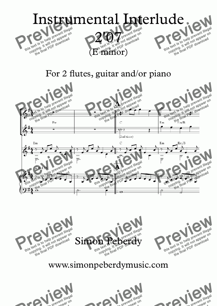 page one of Instrumental Interlude 2'07 for 2 flutes, guitar and/or piano