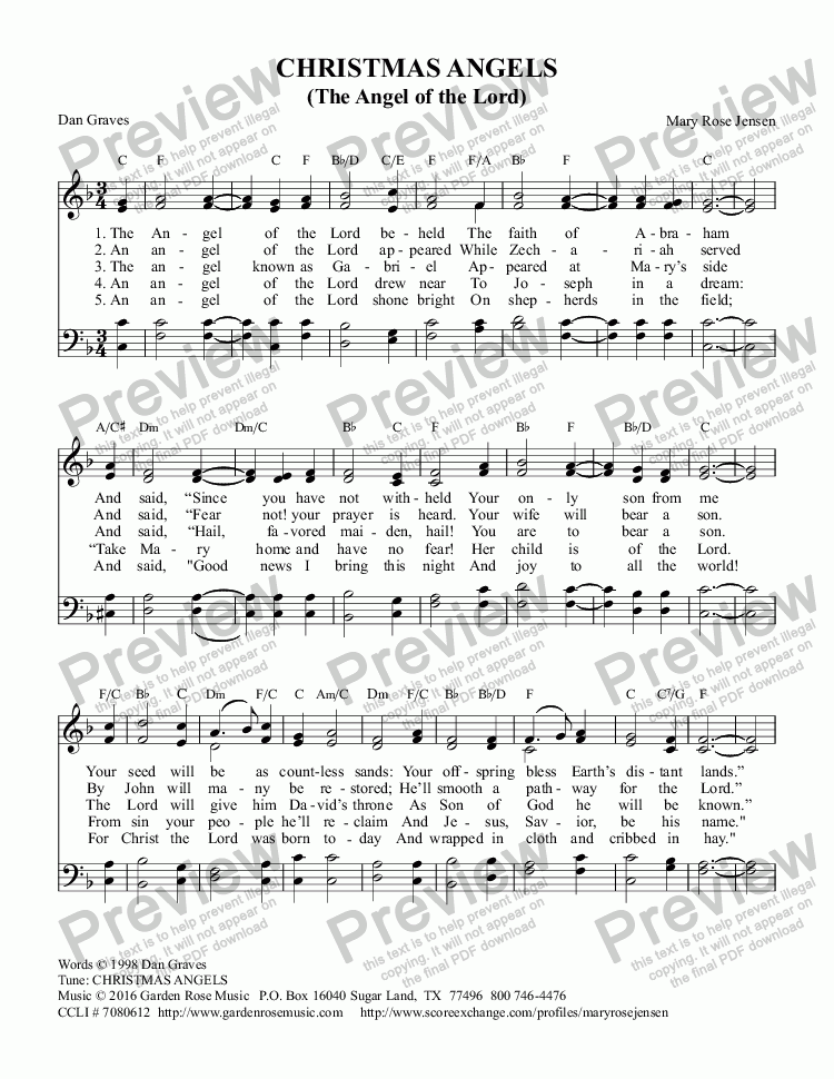page one of Christmas Angels (The Angel of the Lord) Christmas CarolASALTTEXT