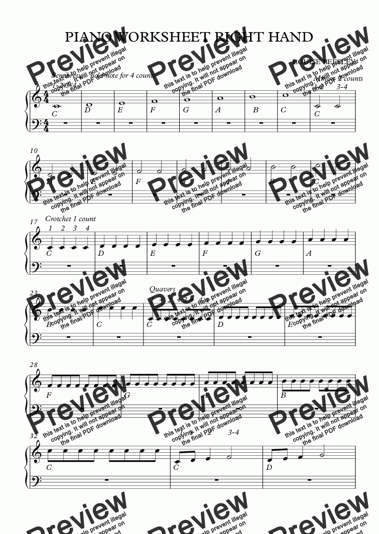 page one of EASY PIANO WORKSHEET