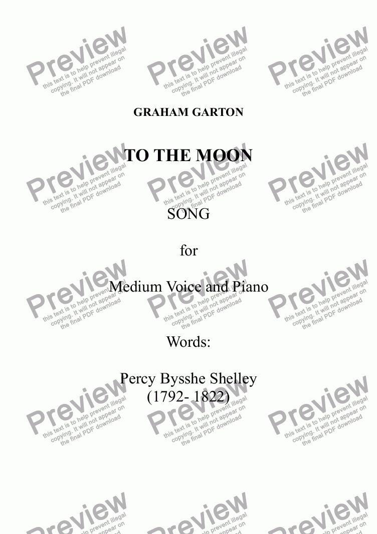 page one of SONG - TO THE MOON - 'for Medium Voice and Piano. Words: Percy Bysshe Shelley (1792-1822)