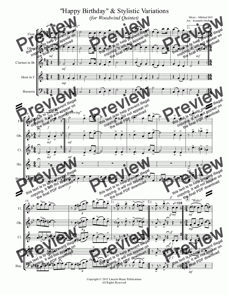 page one of Happy Birthday and Stylistic Variations (for Woodwind Quintet)