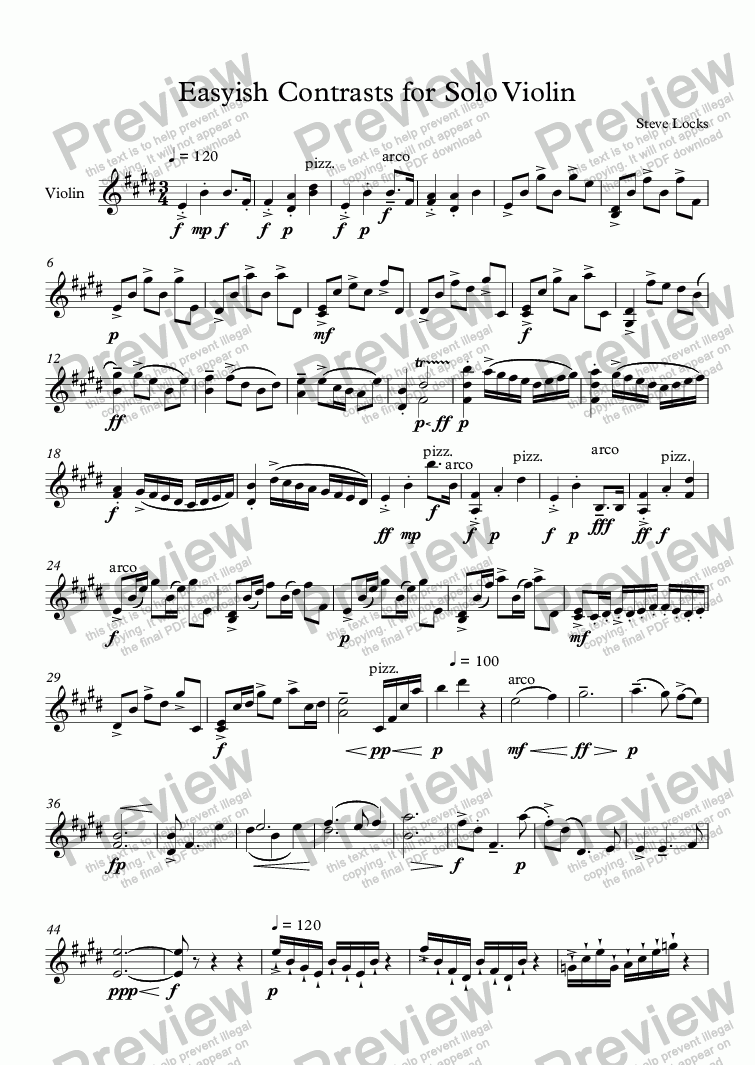 page one of Easyish Contrasts for Solo ViolinASALTTEXT