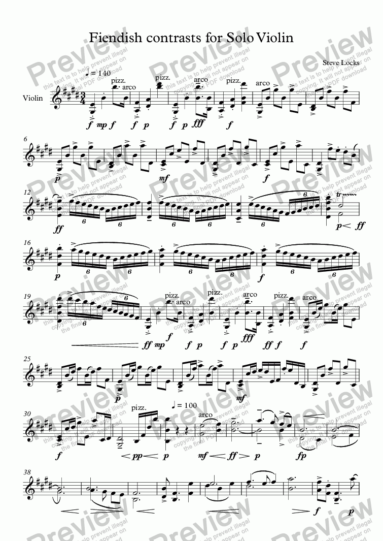page one of Fiendish contrasts for Solo Violin