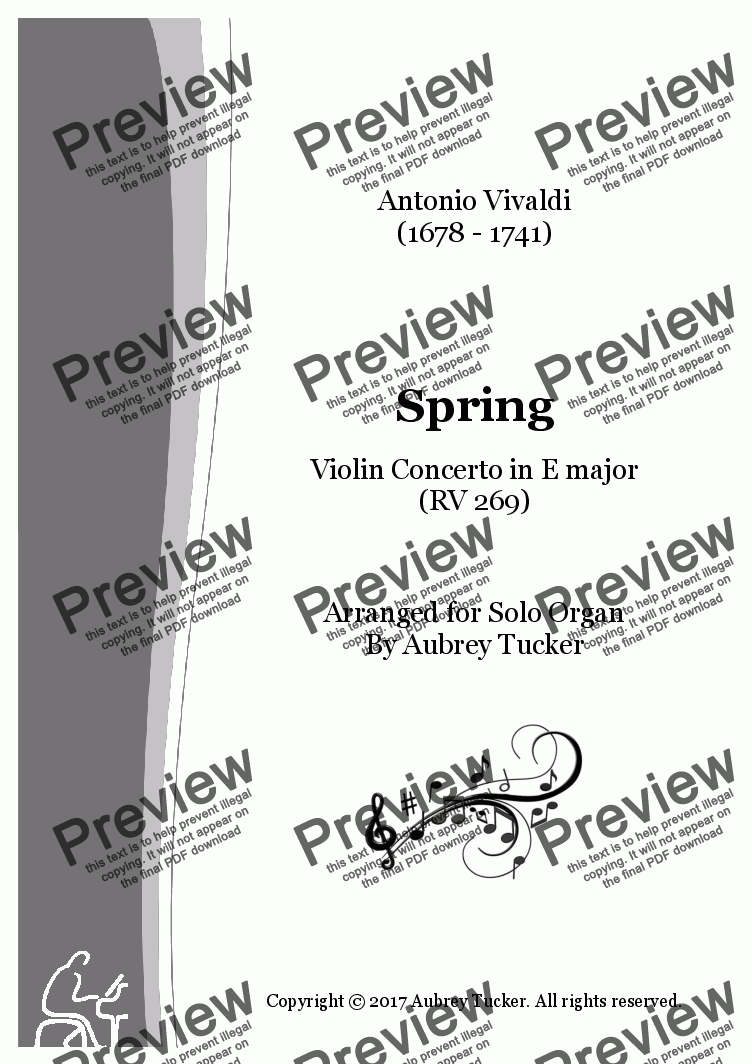 page one of Spring (Four Seasons) from Violin Concerto in E major (RV 269)ASALTTEXT